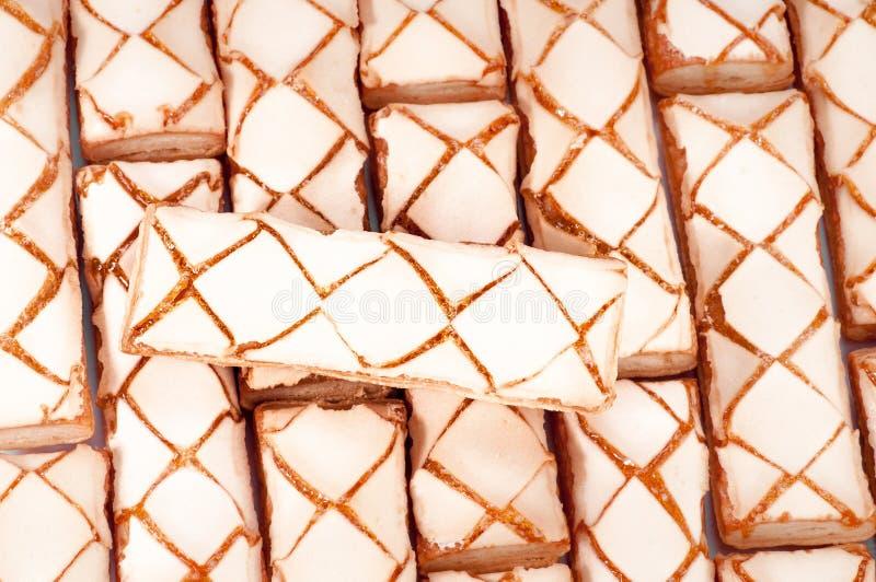 作为甜背景的曲奇饼 顶视图 免版税库存图片