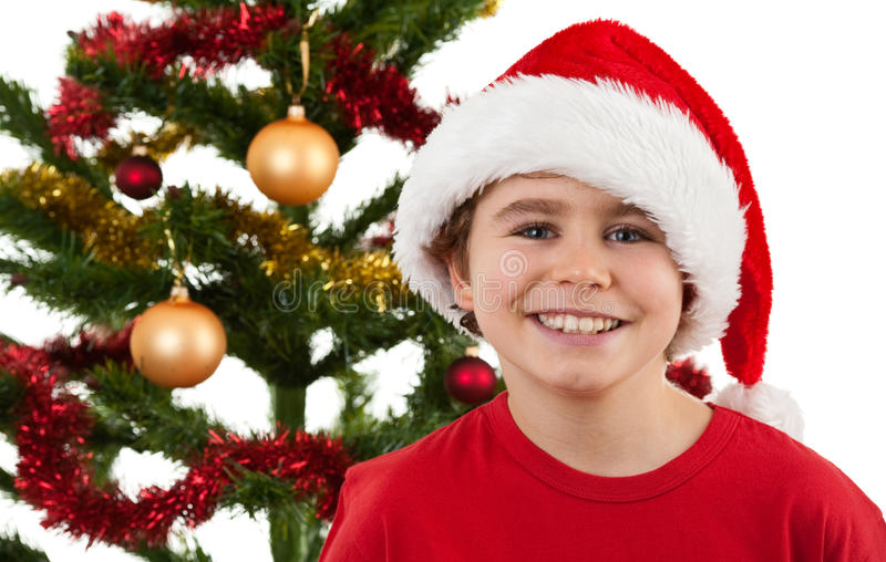 作为男孩克劳斯・圣诞老人 库存照片