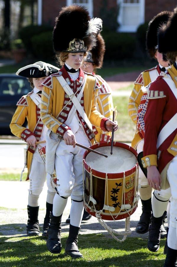 作为男孩英国加工好的鼓手 免版税库存图片