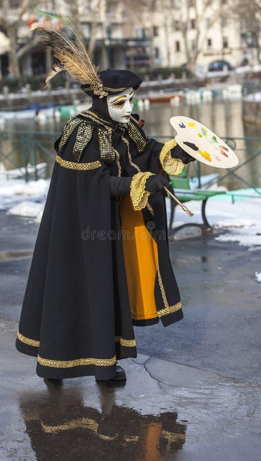 作为画家假装的人-阿讷西威尼斯式狂欢节2013年 库存照片