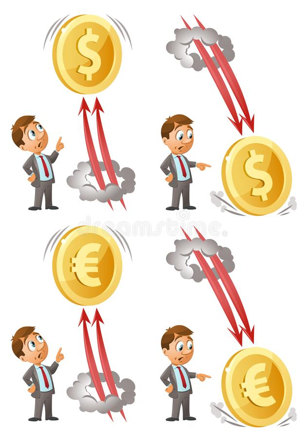 作为美元和欧元的滑稽的商人手表上涨并且跌倒 图库摄影