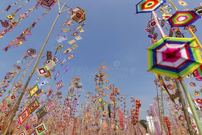 作为背景的五颜六色的桐树旗子,Isan加拉信泰国桐树旗子  免版税库存图片