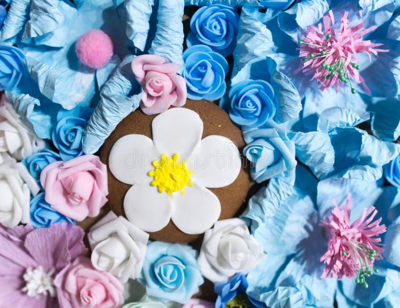 作为背景的美丽的人为蓝色花 库存照片