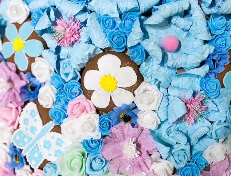 作为背景的美丽的人为蓝色花 库存图片