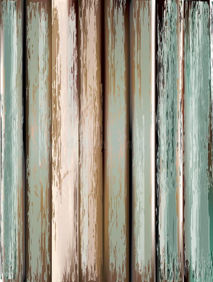 作为背景grunge老面板使用的木头 向量例证