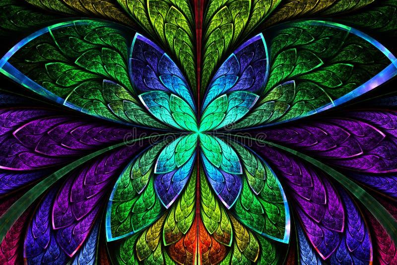 作为花或蝴蝶的多彩多姿的对称分数维样式 皇族释放例证