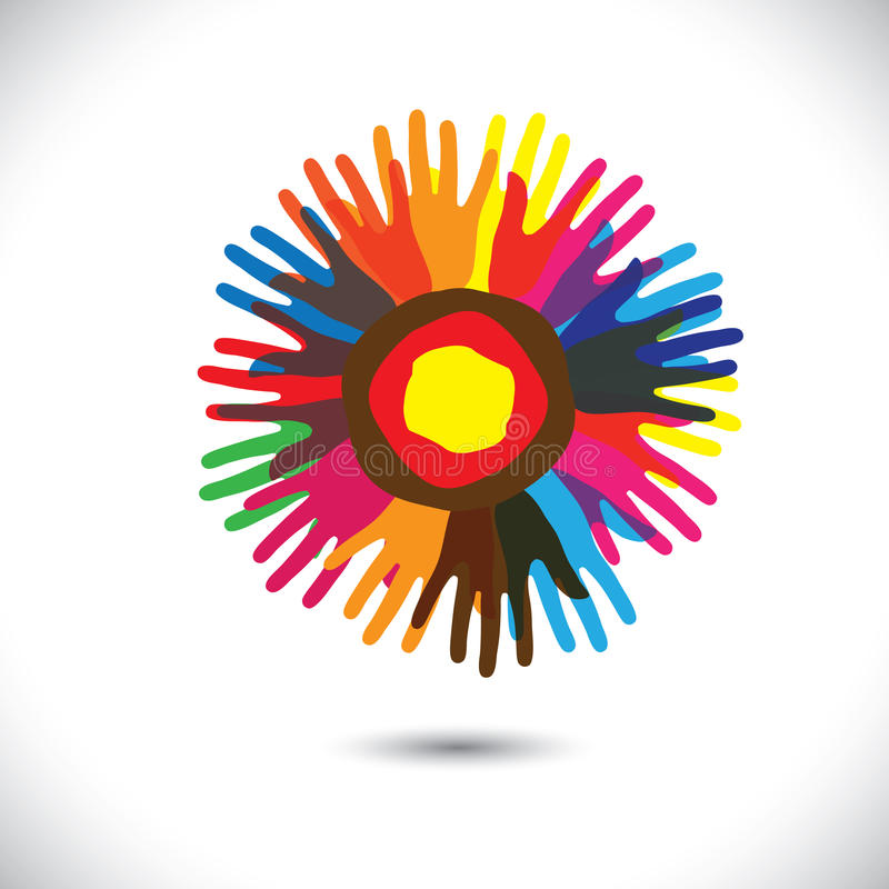 作为花的瓣的五颜六色的手象:愉快的社区概念 库存例证
