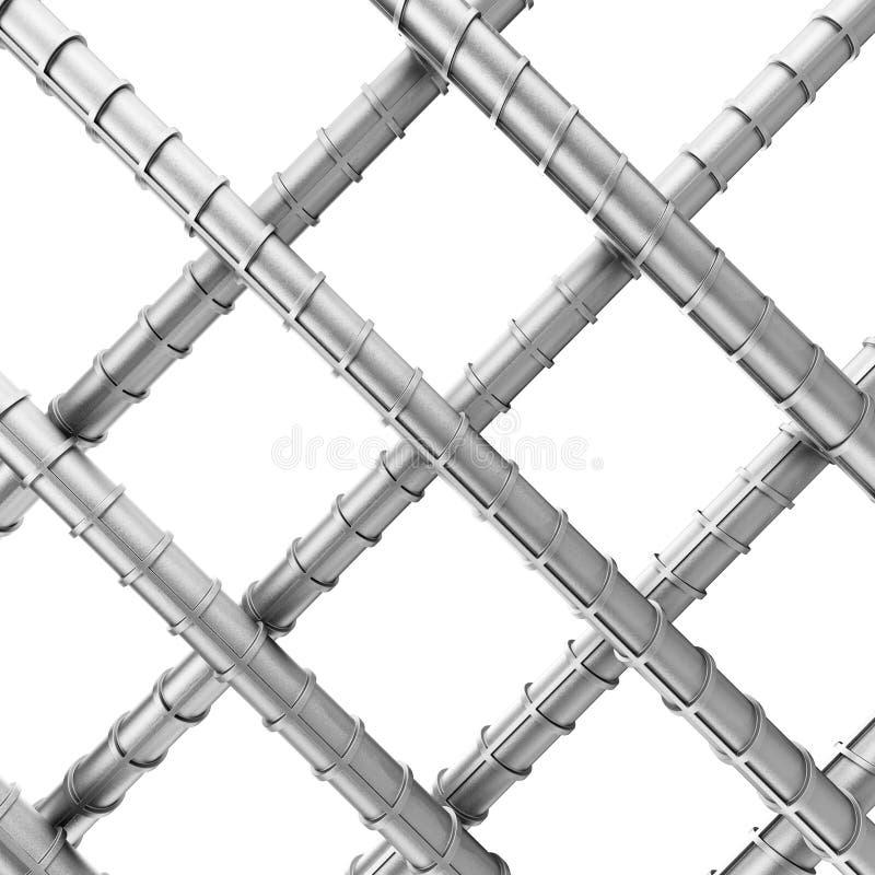 作为被焊接的铁丝网的金属增强钢钢筋 3D renderi 皇族释放例证