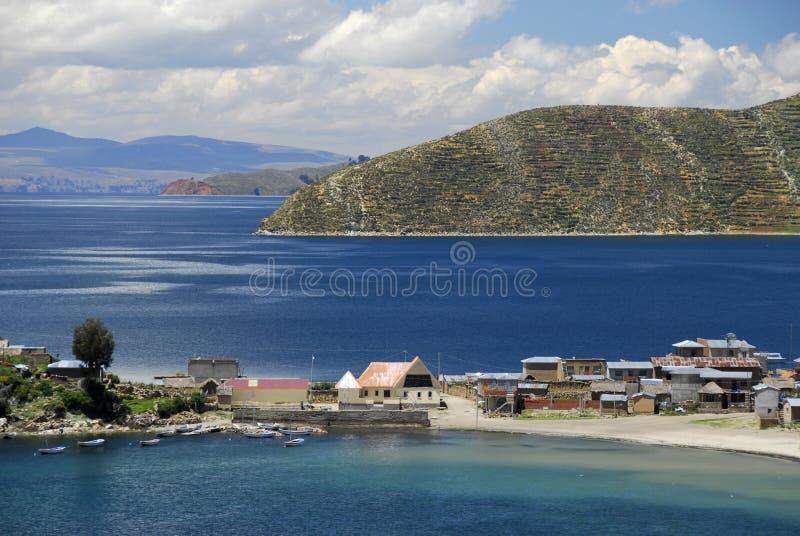 作为被看见的bay del isla湖sol titicaca 免版税库存照片