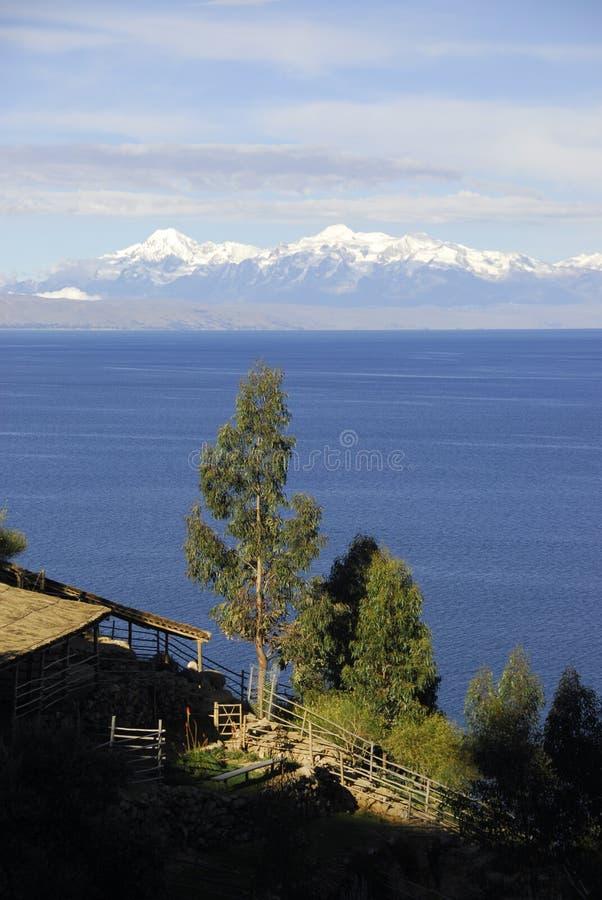 作为被看见的del isla湖sol titicaca 库存照片