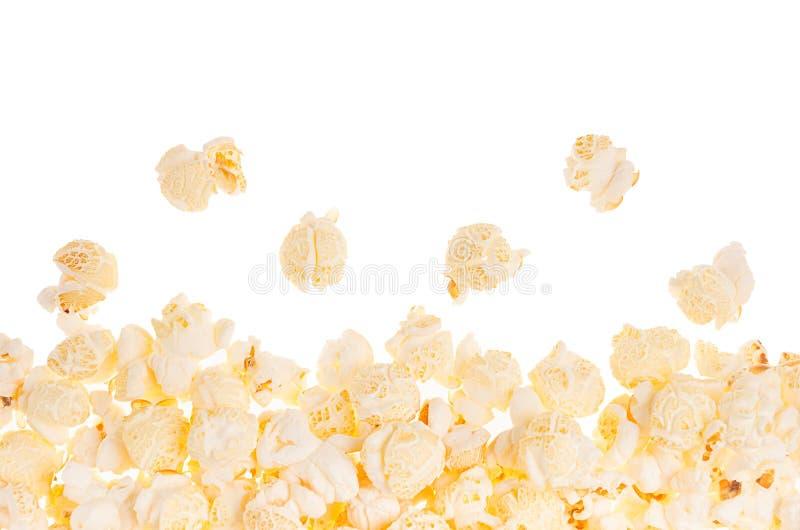 作为装饰框架的玉米花用飞行玉米,隔绝,与拷贝空间 图库摄影