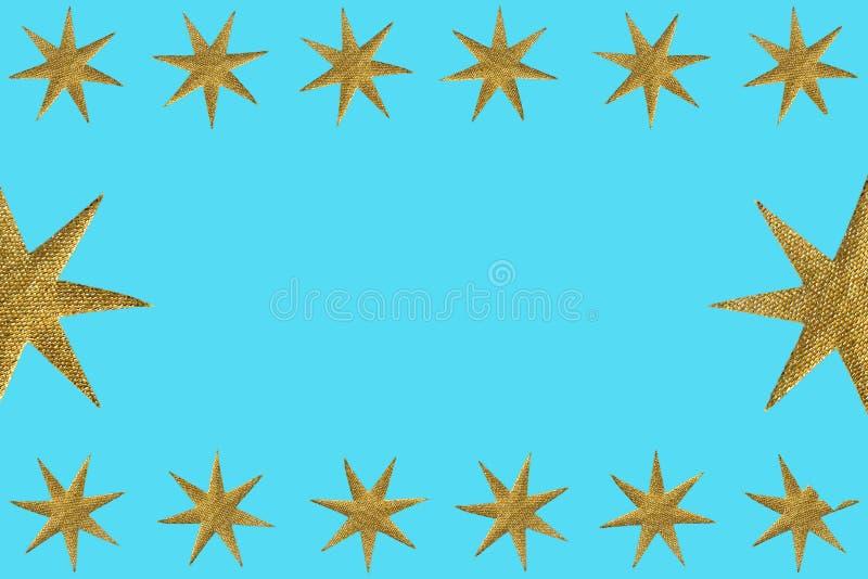 作为装饰的金黄符号星 免版税库存照片