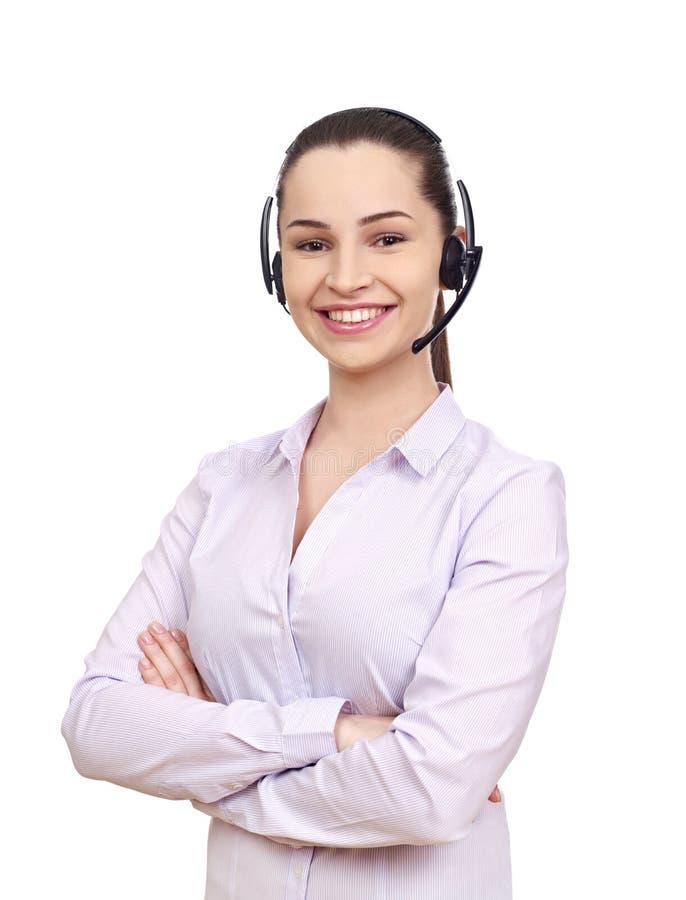 作为覆盖客户友好帮助有用的爱服务微笑对非常您的美丽的女实业家的天使 库存照片
