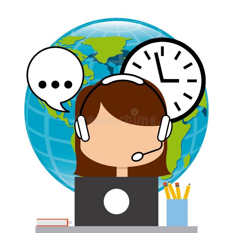Download 作为覆盖客户友好帮助有用的爱服务微笑对非常您的美丽的女实业家的天使 向量例证 - 插画 包括有 时钟, 映射: 59101104
