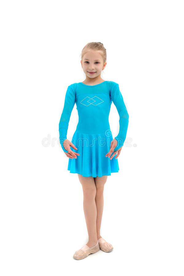 作为跳芭蕾舞者,在白色背景的演播室射击的女孩 免版税库存照片