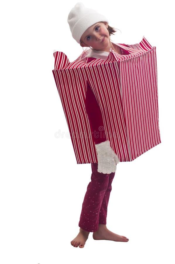 作为配件箱逗人喜爱的加工好的女孩&# 免版税库存图片
