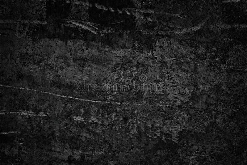 作为阴沉的阴险背景的黑粗砺的混凝土墙 免版税库存图片