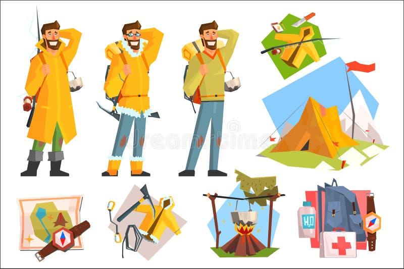 作为露营车、渔夫和登山人打扮的人 野营,钓鱼,上升的设备 有效的生活方式 帐篷,指南针,地图 皇族释放例证