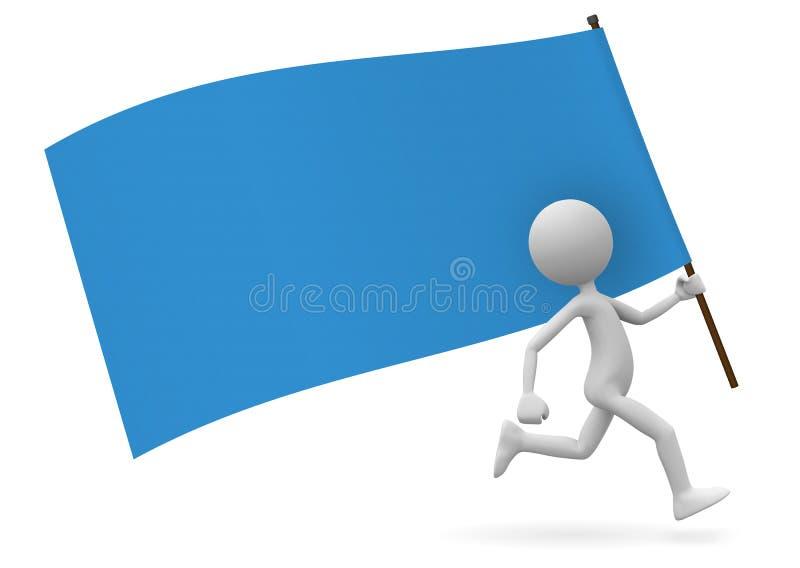 作为领袖的跑的3D动画片人有旗子的 皇族释放例证