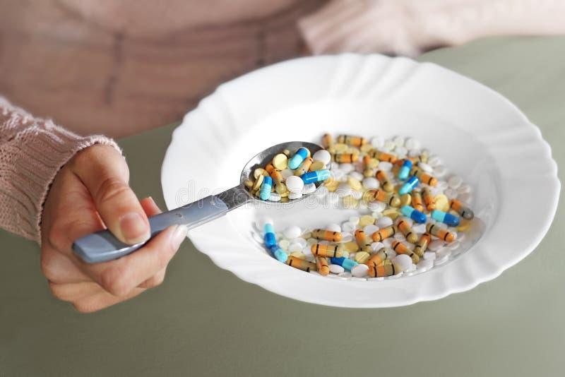 作为饭食的片剂 免版税库存照片