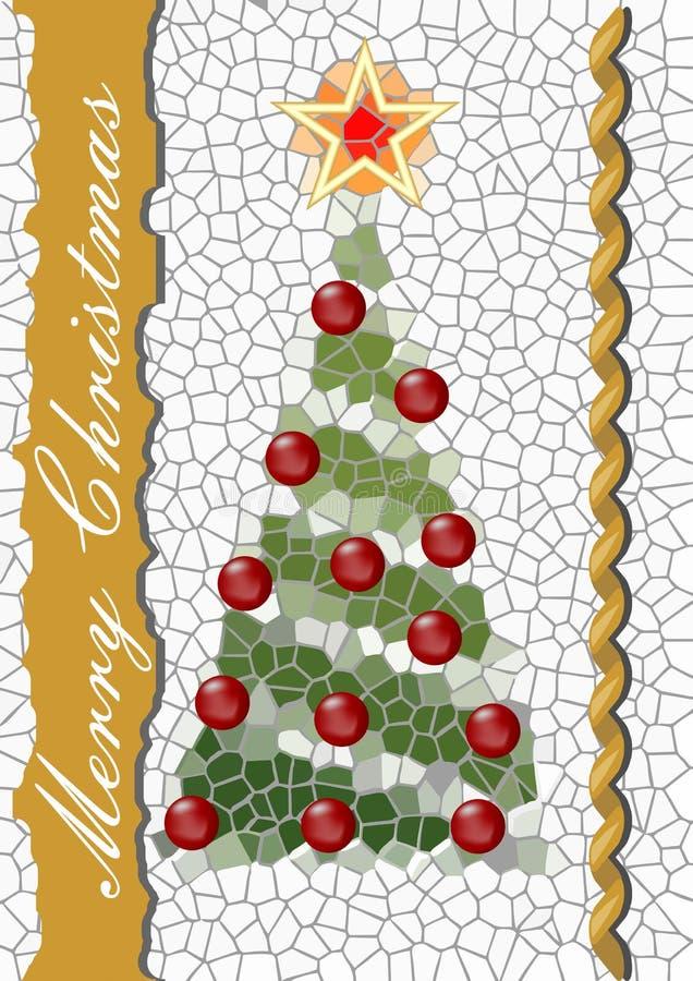 作为马赛克被设计的圣诞树 库存例证