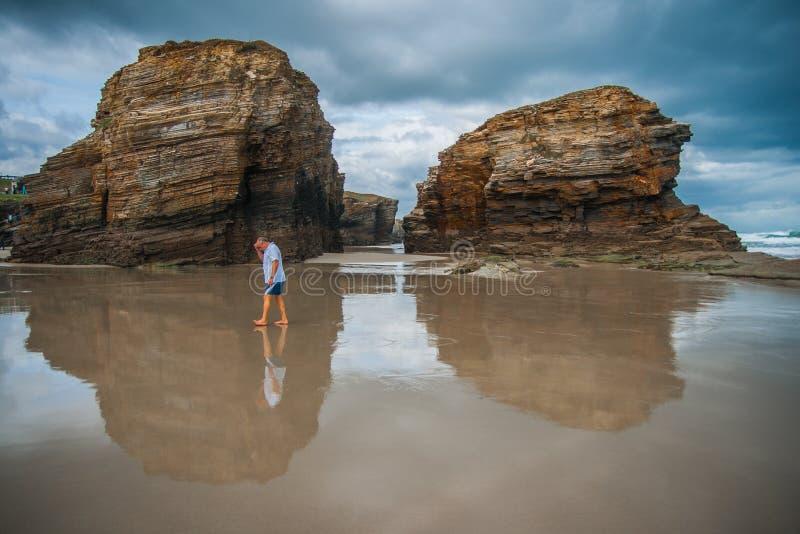 作为Catedrais的美丽的海滩在加利西亚在西班牙 图库摄影