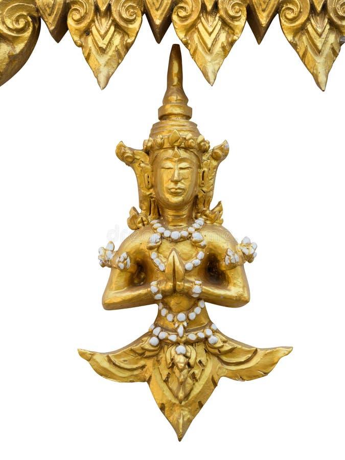 作为Thepanom被命名的泰语古老天使雕象  库存图片