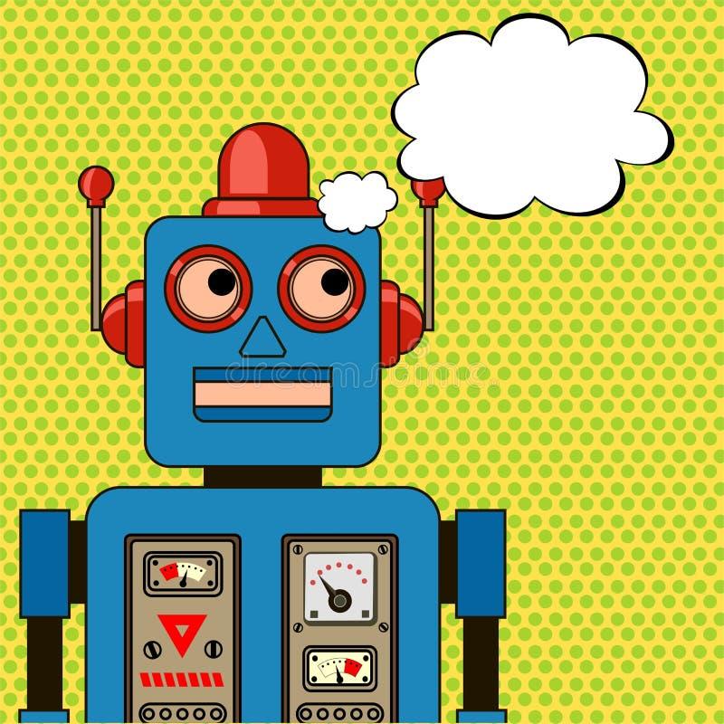 作凉快的机器人 流行艺术海报 向量例证