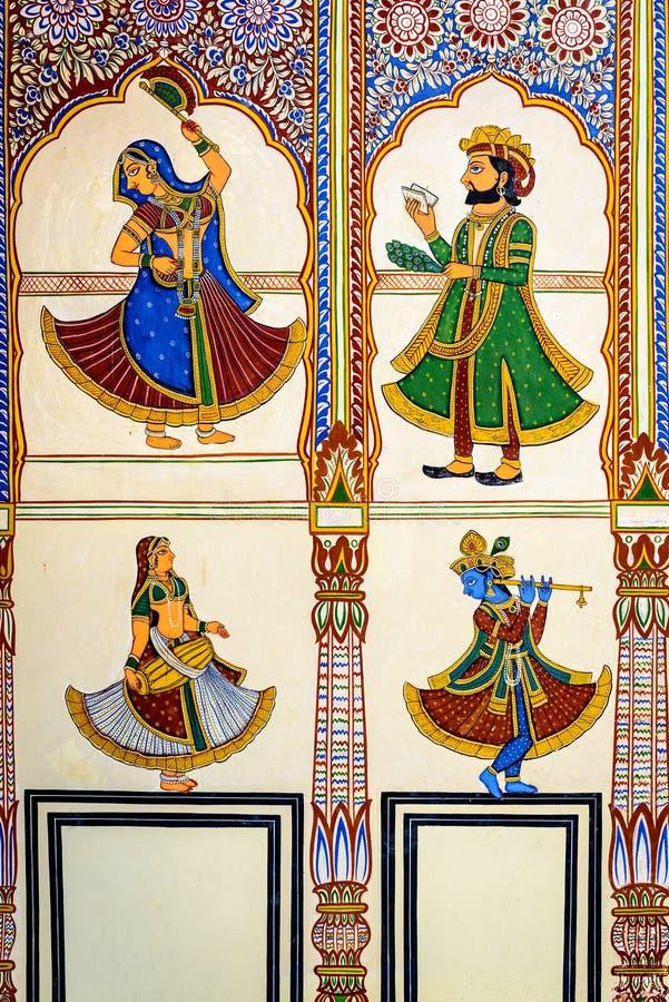 作壁画于的Havelis在曼达瓦,传统华丽地 库存图片