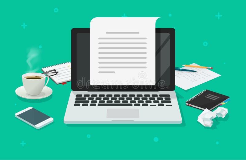 作家工作场所和计算机用纸板料传染媒介例证,平动画片3d撰稿人工作区桌创造 皇族释放例证