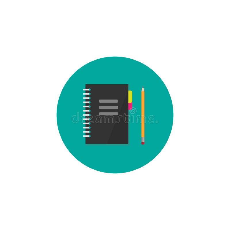 作家或经理工作场所象 笔记本和铅笔在绿松石圈子 J 库存例证