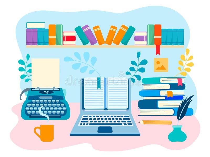 作家,文艺创造性的工作的工作空间 库存例证