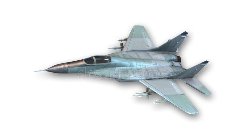 作战喷气式歼击机飞行,在白色背景隔绝的军用飞机 库存例证