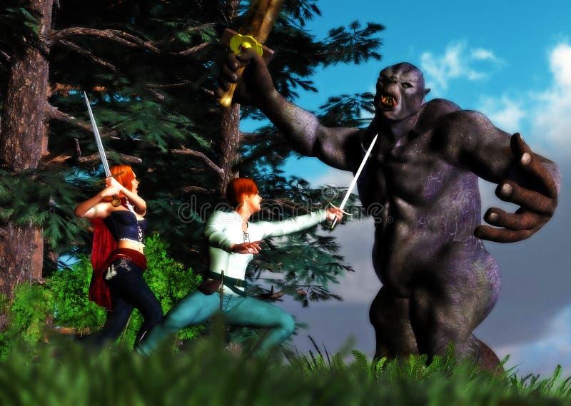 作战战斗的古老妖怪的英雄场面  库存例证