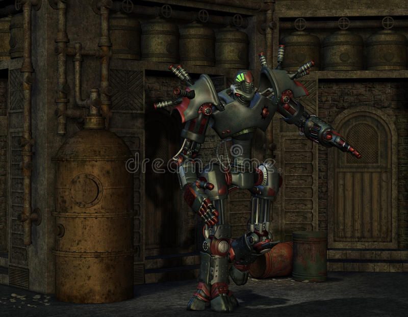 作战机器人在一间老设备屋子 皇族释放例证