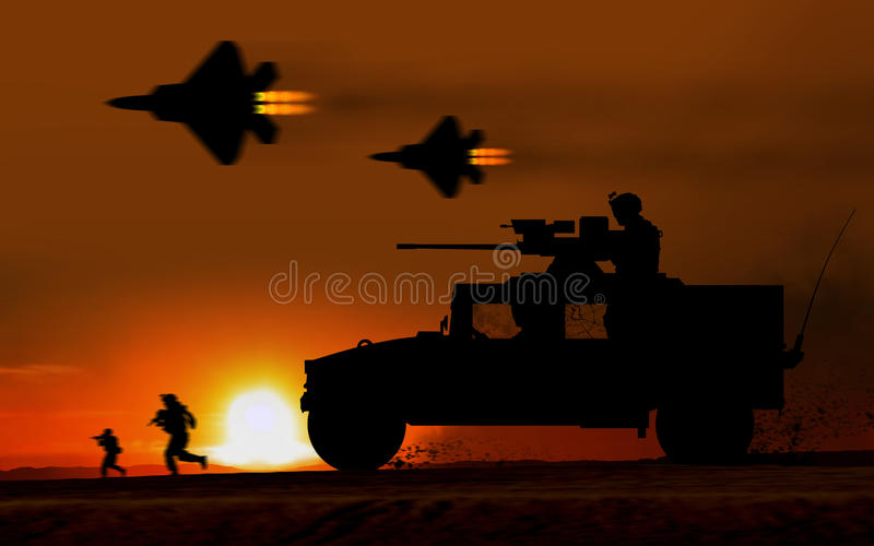 作战攻击发嗡嗡声的东西防弹车 向量例证