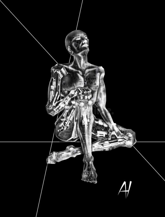 作机器人的3D AI 向量例证