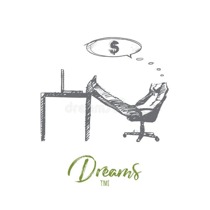 作梦关于收入的手拉的商人 向量例证