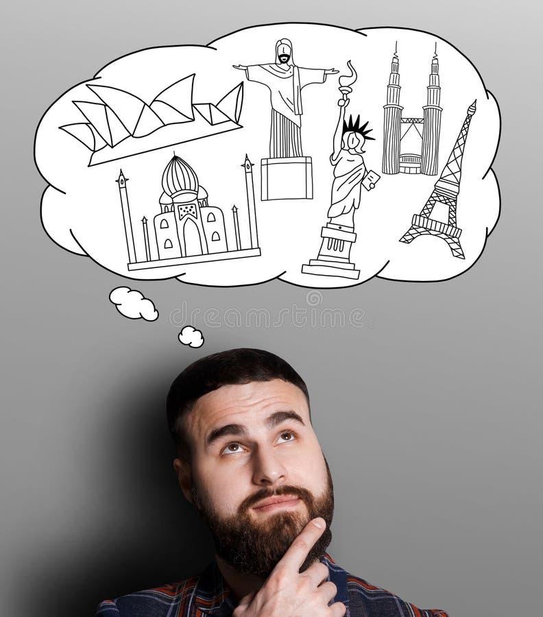 作梦关于旅行的概念 免版税库存图片