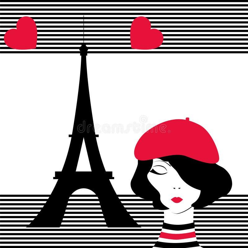作梦巴黎的时尚女孩 向量例证
