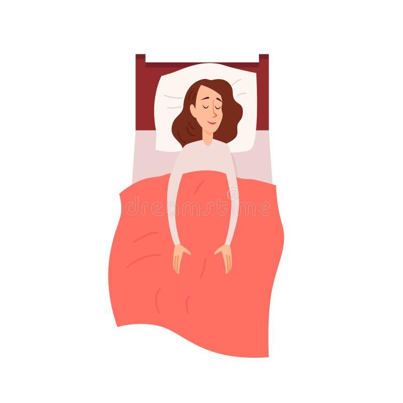 作梦的妇女睡觉或有说谎在长沙发顶视图的休息 库存例证
