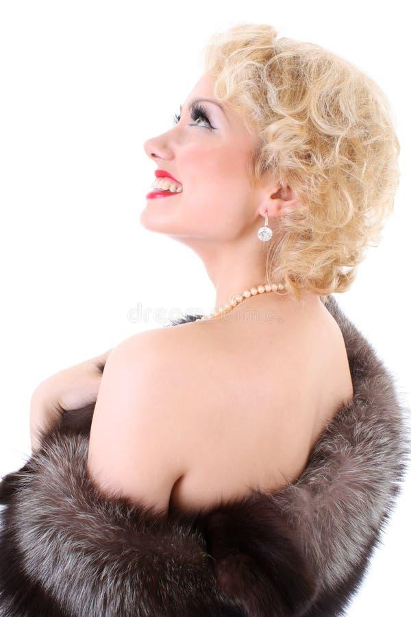 作毛皮的blondie衣领 免版税库存照片