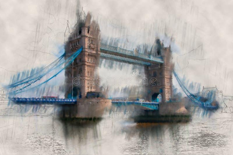 绘作用伦敦塔桥梁葡萄酒视图  图库摄影