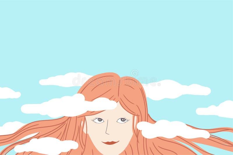 作白日梦与她的在云彩的头的愉快的妇女 皇族释放例证