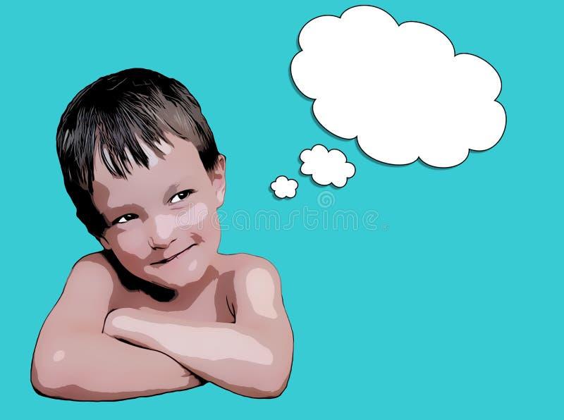 作白日梦逗人喜爱的男孩 向量例证