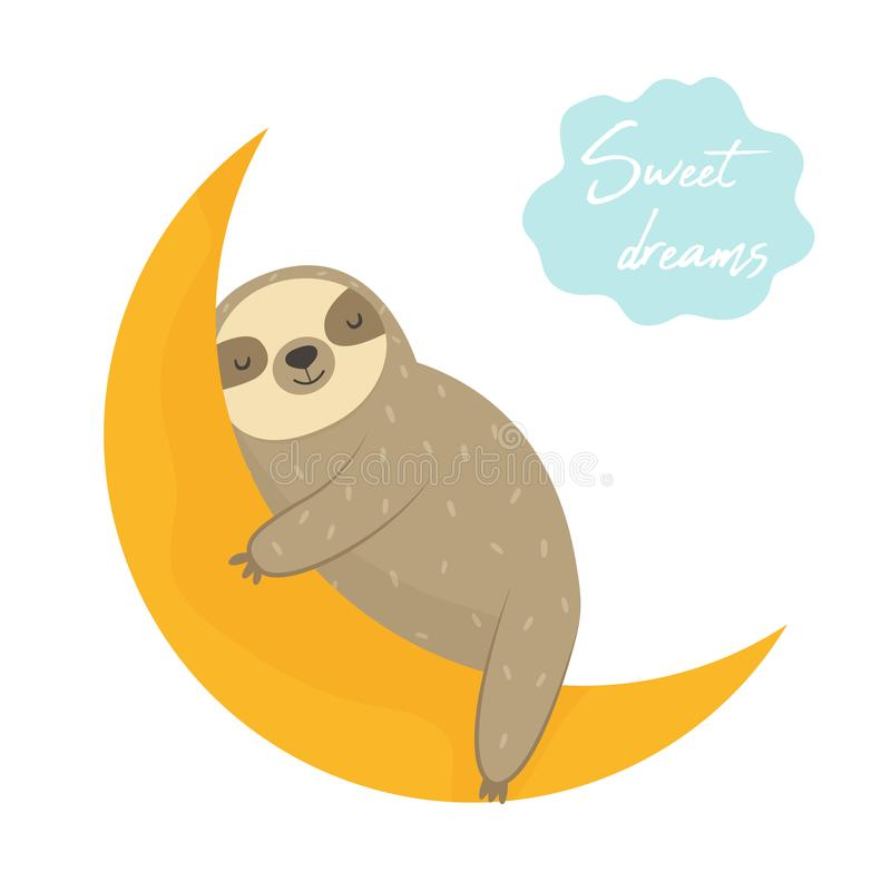 作睡觉在月亮的滑稽的怠惰 向量例证