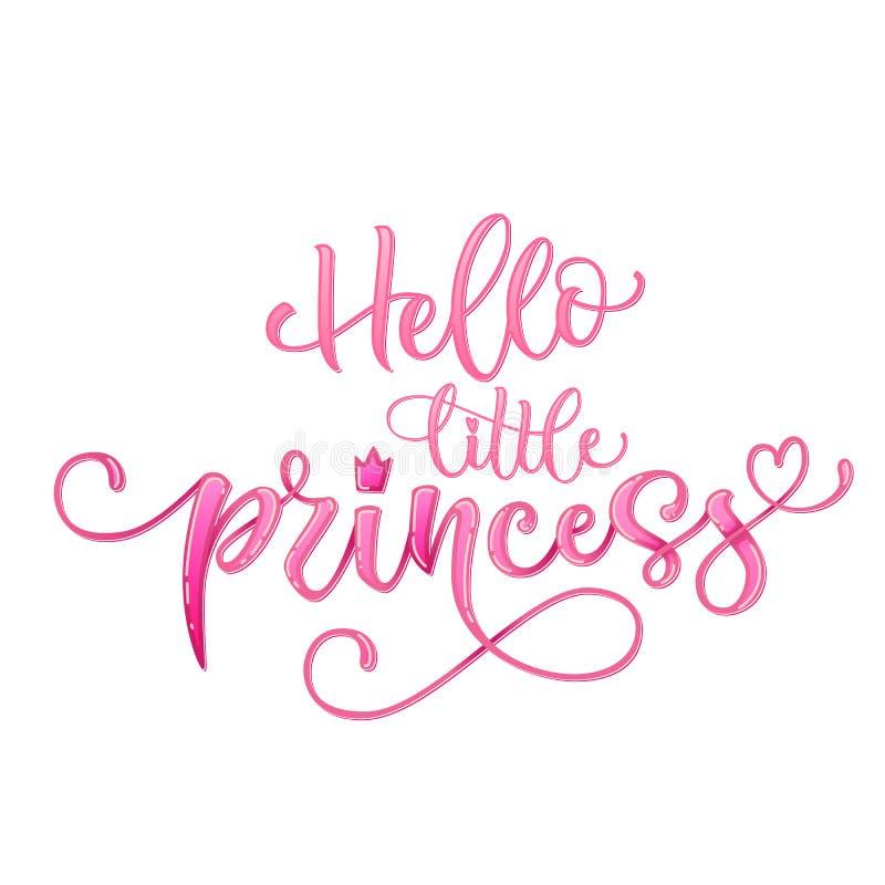 你好一点公主行情 手拉的现代书法婴儿送礼会字法商标词组 向量例证