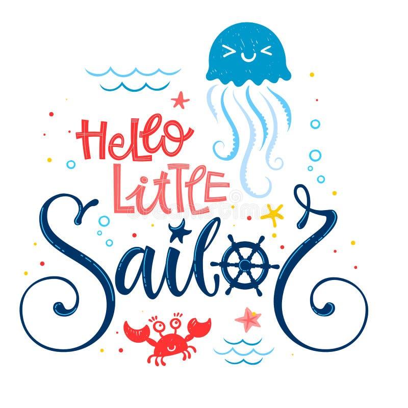 你好一点水手行情 婴儿送礼会手拉的书法,奇怪剧本样式字法商标词组 向量例证