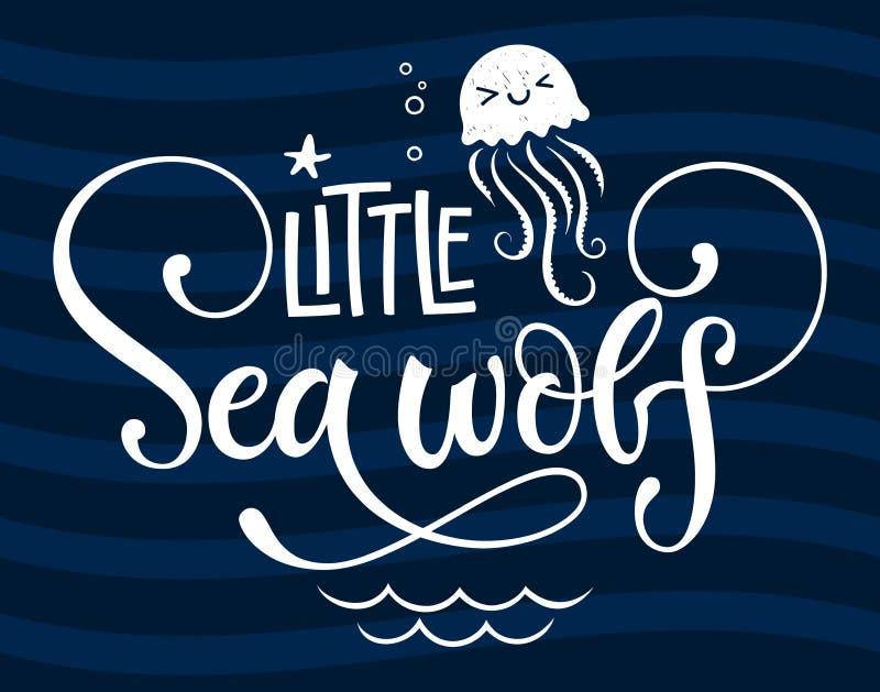 你好一点海狼行情 简单的白色婴儿送礼会手拉的奇怪剧本样式字法传染媒介商标词组 向量例证