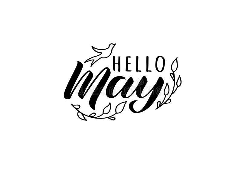 你好与乱画燕子和分支的5月手拉的封缄信片 激动人心的春天行情 库存例证